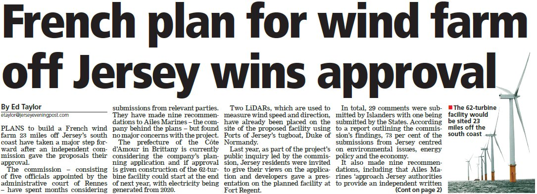 À la une du Jersey Evening Post d'aujourd'hui. #Jersey Focus sur l'actualité d'@AilesMarines @JEPnews Ed Taylor<br>http://pic.twitter.com/87mApZfyEI