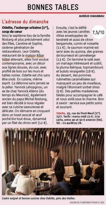 L&#39;adresse du dimanche : #Odette ! Seul-e ou accompagné-e, venez donc déjeuner au @Maison_Albar Hotel Paris Céline ! Merci @leJDD ! #Foodie <br>http://pic.twitter.com/Mj3HWhU8qT