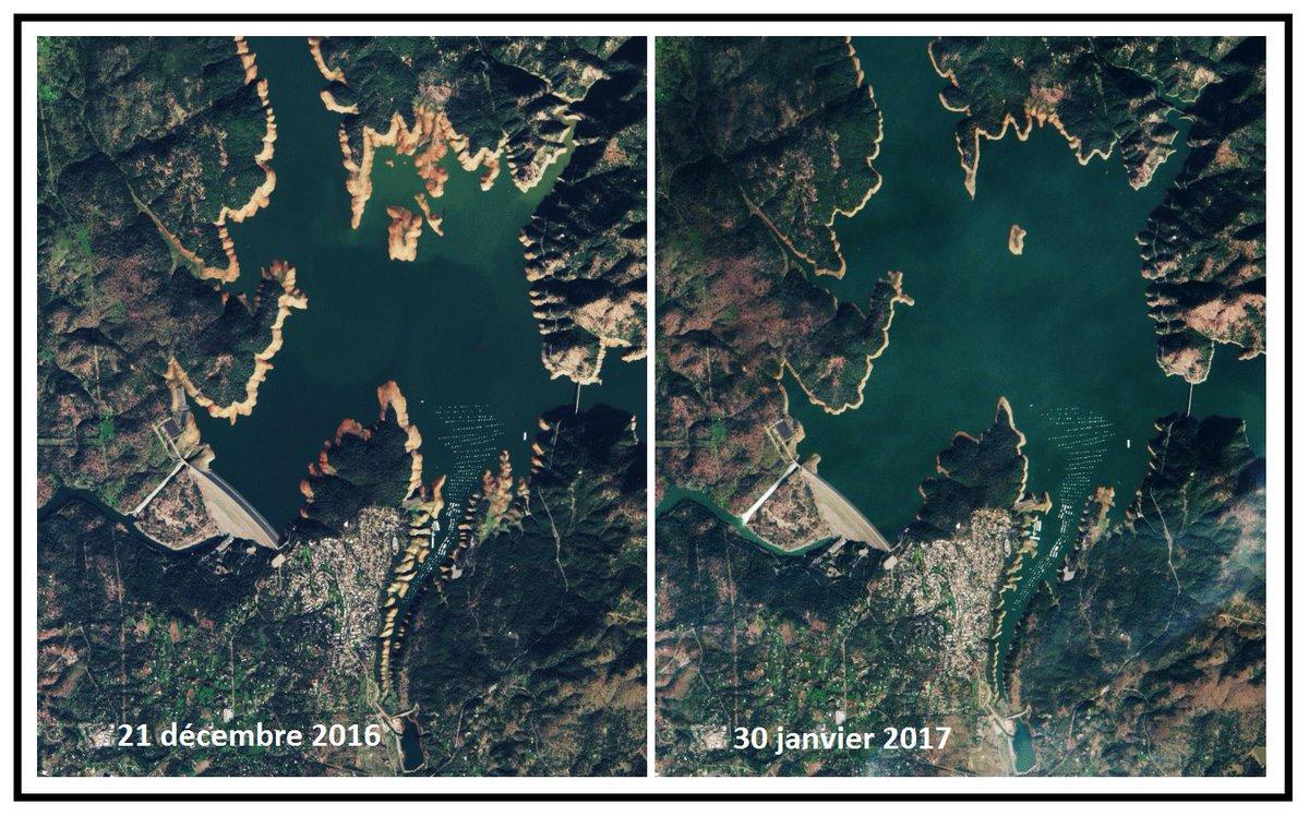 Situation critique il y a peu au barrage d&#39;#Oroville, aux Etats-Unis, via @ESA_EO #California #water #Reservoir #space #EarthfromSpace #USA<br>http://pic.twitter.com/M1O2pMuFaT