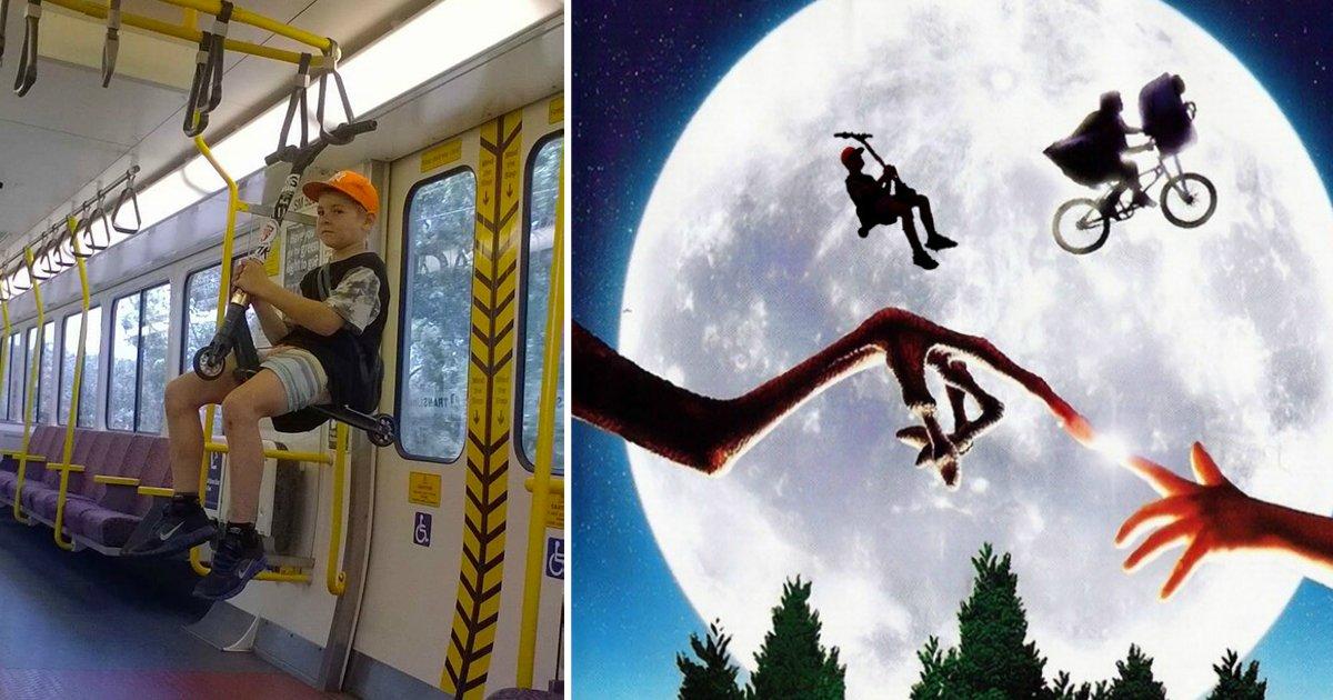 Top 10 des détournements photoshop du gosse suspendu dans le train avec sa trottinette  http://www. topito.com/top-detourneme nts-photoshop-gosse-suspendu-train-trottinette &nbsp; …  #humor <br>http://pic.twitter.com/3EQktzkgPJ