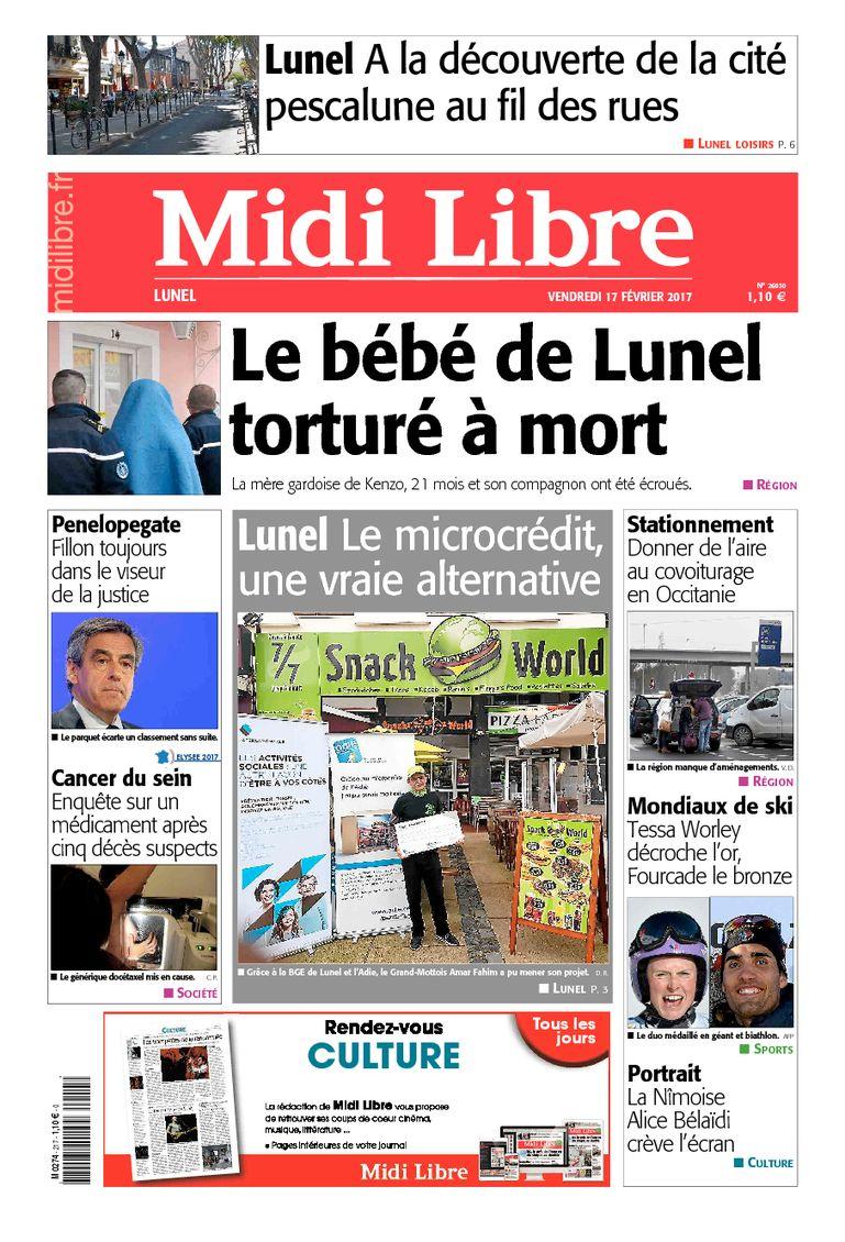 #Lunel A la une de #MidiLibre ce vendredi 17 février <br>http://pic.twitter.com/Eg4hC9lK1f