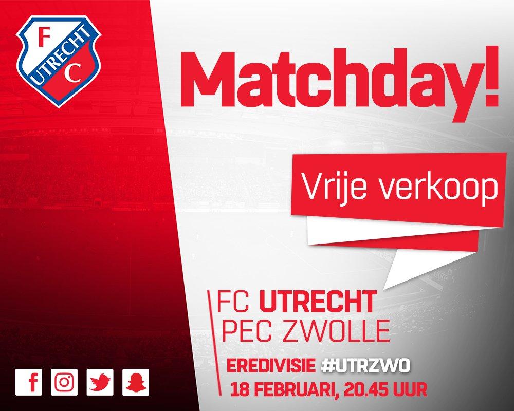⚽️ MATCHDAY! 🆚 #fcutrecht - @PECZwolle ⏰ 20.45 u 🎟 http://www.fcutrecht.nl/tickets 🎟 In Fanshop van 10 tot 17 u 🎟 Bij stadionkassa's vanaf 18.45 u
