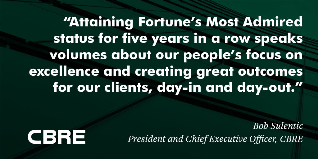 #CBRE named a World's Most Admired Company by @FortuneMagazine for fifth consecutive year https://t.co/x8fi1YrzLY https://t.co/vjT9qOIiNp