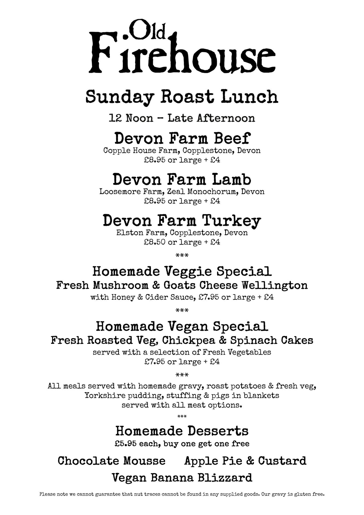 Old Firehouse Exeter On Twitter This Sundays Roast Lunch