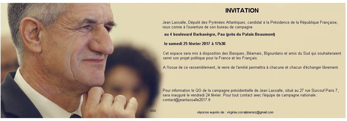 Inauguration de la permanence de campagne de @jeanlassalle à #Pau #Béarn le Samedi 25 février à partir de 17h30, venez nombreux! #Résistons!<br>http://pic.twitter.com/NAvzImqKsT