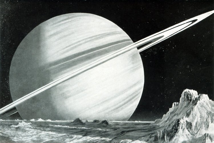 Planet Saturn, as seen from one of its moons, illustrated by Kurt Röschl, 1958. #space