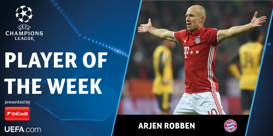 Arien Robben Chempionlar Ligasida haftaning eng yaxshi futbolchisi deb topildi