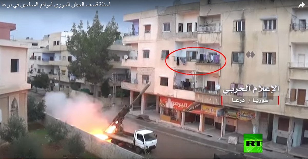 Syrian Government forces had fired Volcano rockets targeting Syrian rebel positions from Daraa civilian areas geolocated in al-Sahari District. The location is 5m from a mosque, 40m from a hospital and 60m from a school, Daraa, Syria.