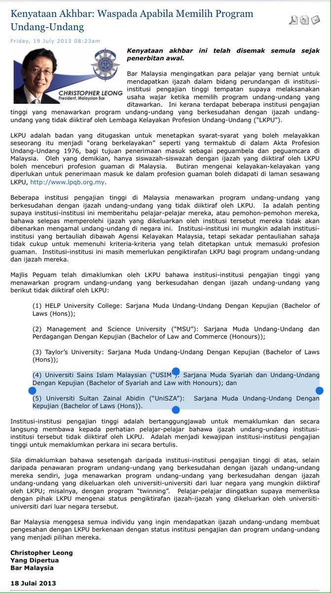 Malek Hussin On Twitter 2013 Majlis Peguam Bangkit Soal Pengiktirafan Program Undang Undang Di 5 Ipt Termasuk Usim Unisza 2017 Usim Masih Tak Selesai Unisza Https T Co Mjfnvudcsq
