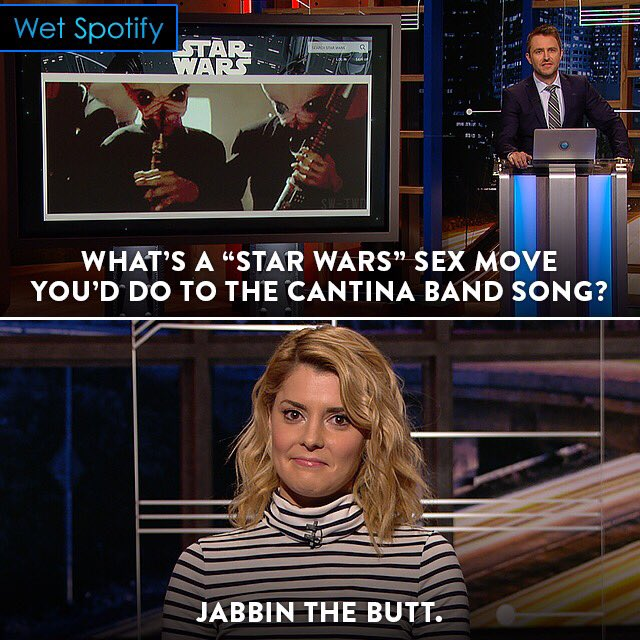 Blast your jizz-wail and enjoy this Star Warsian clip from last night'...