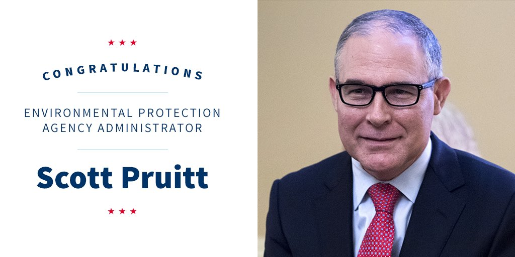 Congratulations to our new @EPA Administrator, Scott Pruitt!
