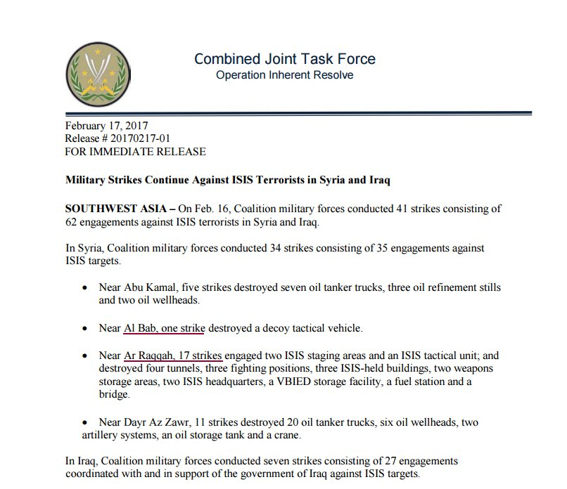 CJTFOIR: 17 strikes near Raqqa  and  1 near AlBab in support of #WrathOfEuphrates & #EuphratesShield forces against IS