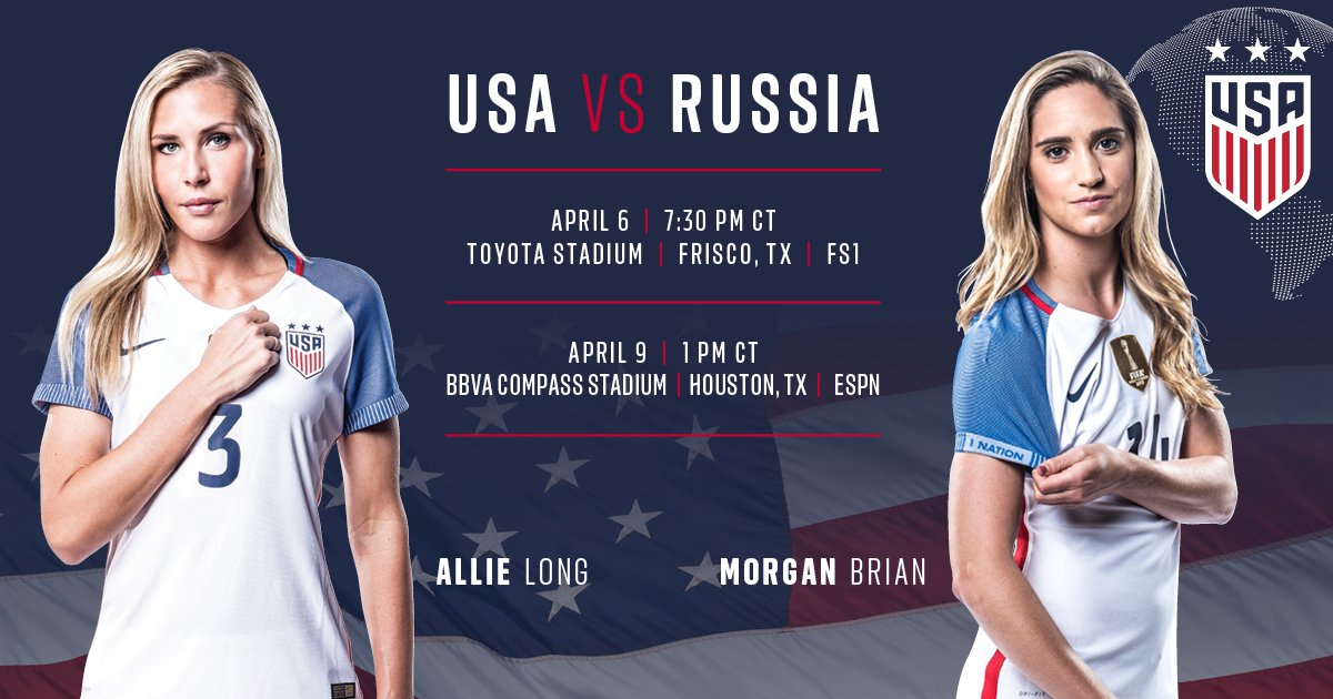 NEWS: Texas, we&#39;re coming your way!  The #USWNT will play two April friendlies vs. Russia in Frisco &amp; Houston:  http:// ussoc.cr/2lr6oCV  &nbsp;  .<br>http://pic.twitter.com/PMAxtbtQ3a