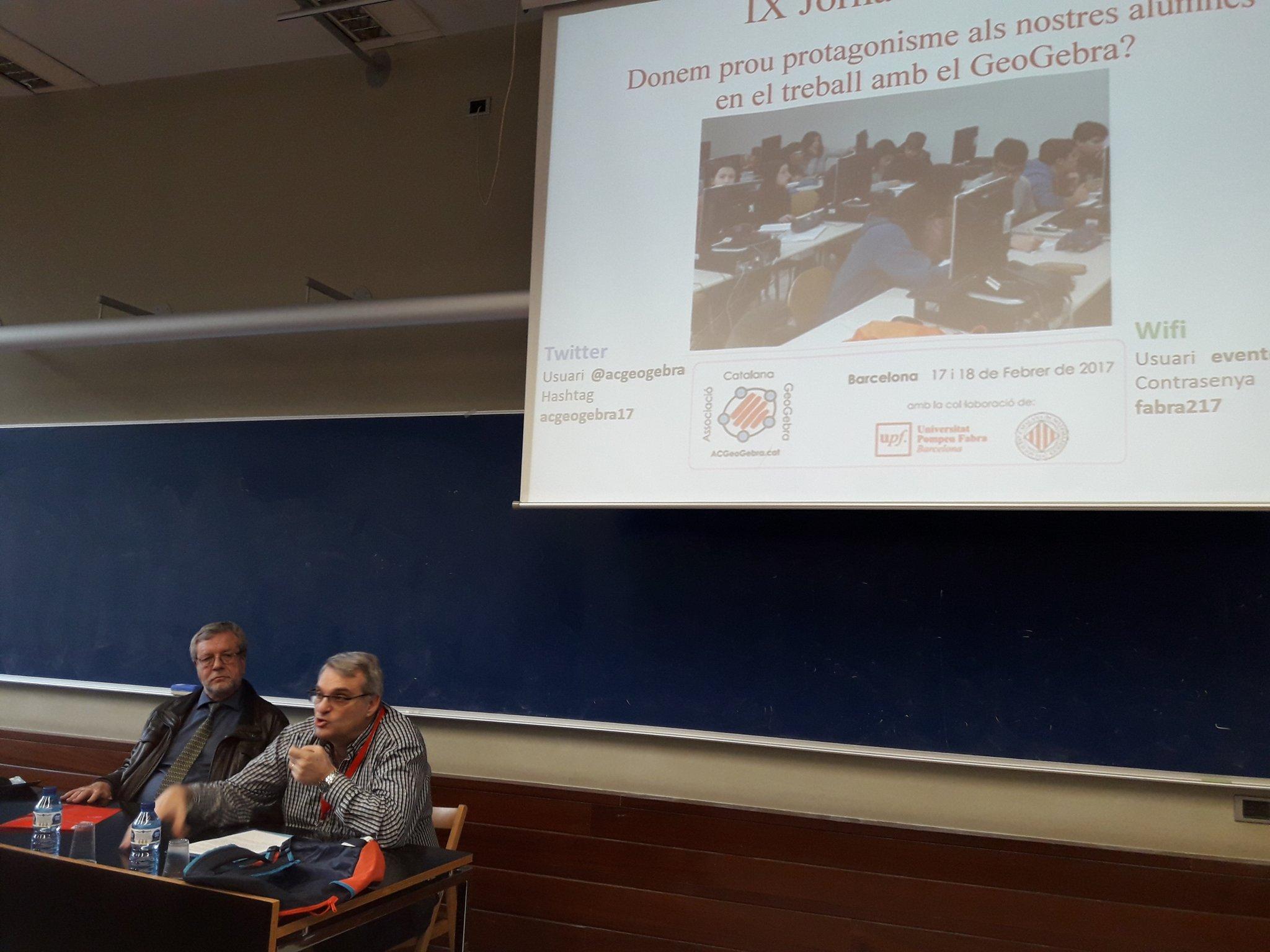 En Pep Bujosa obre les IX Jornades #acgeogebra17 parlant de les conclusions del @C2EM2016 . https://t.co/ZQfYMYAYWR