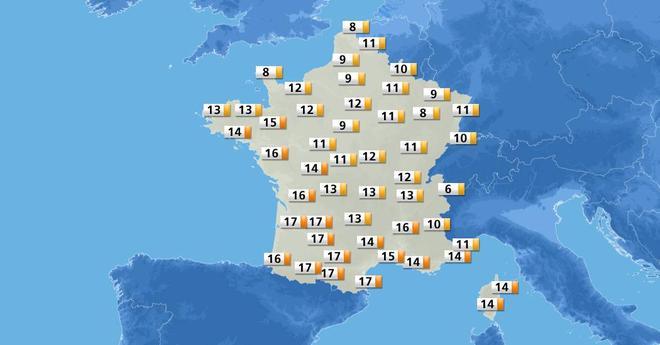 Ambiance à nouveau printanière cet après-midi à l&#39;ouest et au sud avec 16° à #Nantes, 17° à #Bordeaux, 18° à #Pau, 19° à #Dax &amp; 20° à #Nîmes<br>http://pic.twitter.com/c8TmDcBw1F