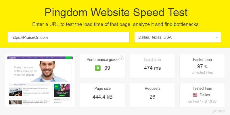 pingdom speed test