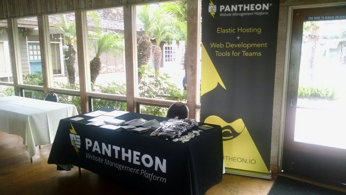 Pantheon booth set up at SANDCamp