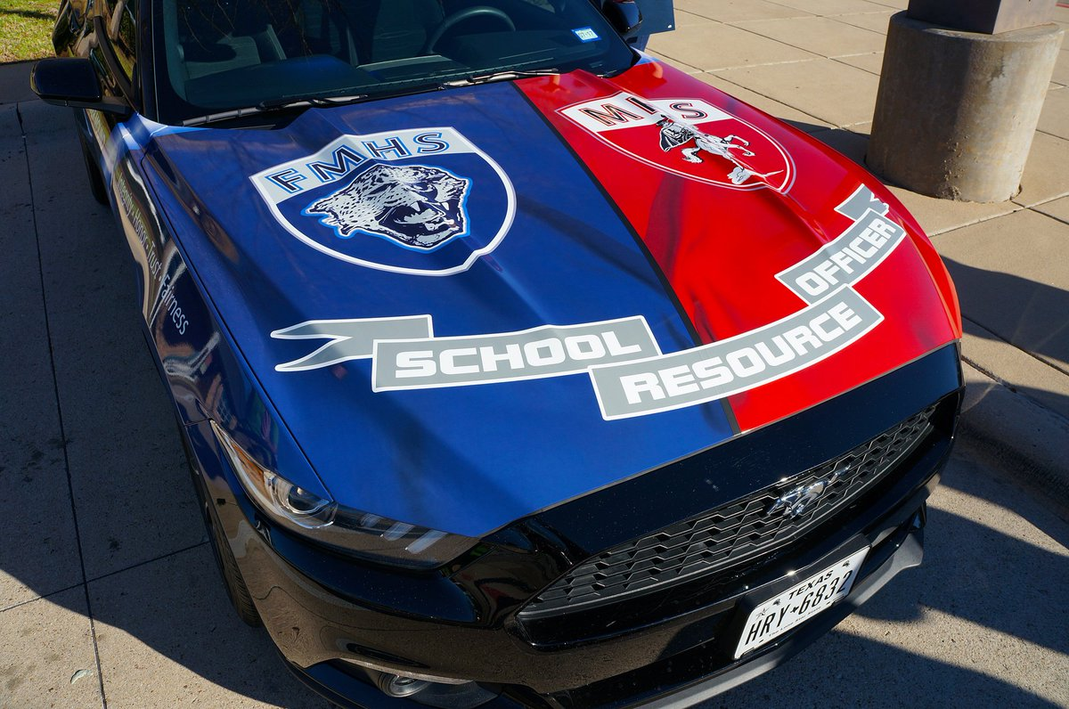 """Flower Mound PD on Twitter: """".@FlowerMoundHS & @Marcus_HS students teamed up to create graphics for FMPDs School Resource Officer car, which was seized f/ a ..."""