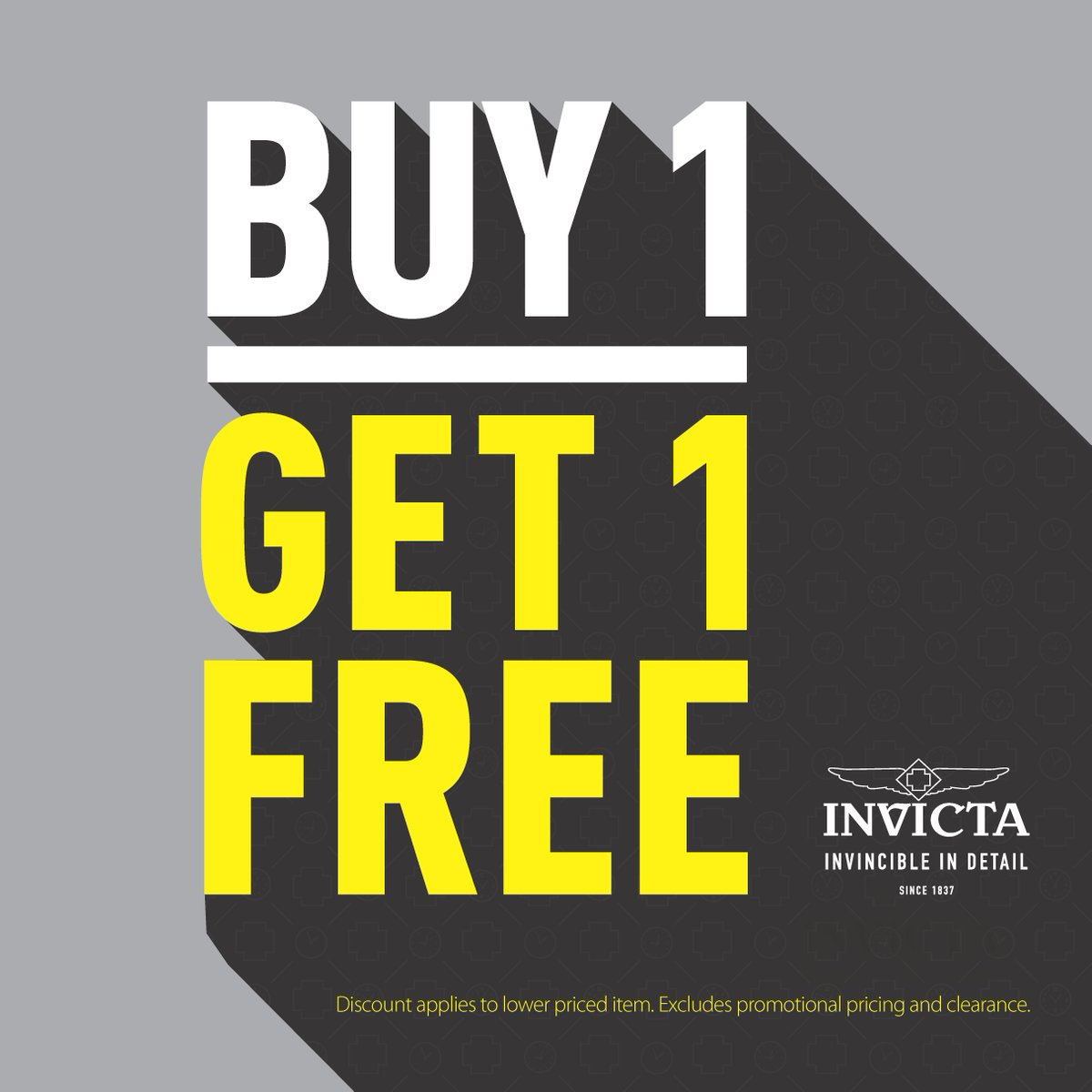 #BOGO begins! For a limited time only, buy 1 and get 1 #FREE exclusively at official Invicta Stores. #invicta #freewatch #sale