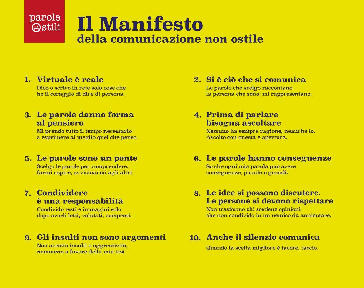 RT @ParoleOstili: Il Manifesto della comunicazione...