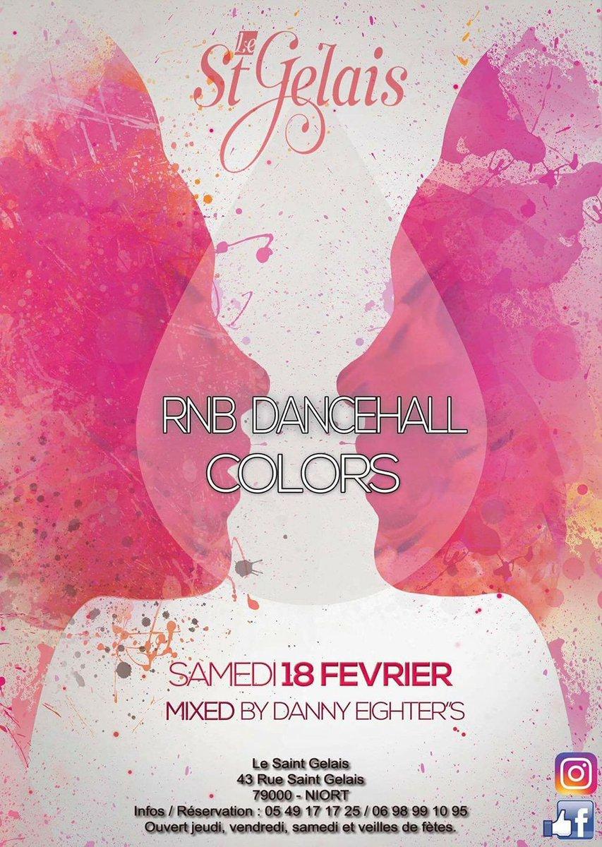 RnB Dancehall Colours #Party à partir de 00h00 au St-Gelais à #Niort ! Infos &gt;&gt;  http://www. sortiraniort.fr/evenements/rnb -dancehall-colours-party/?occurrence=2017-02-18 &nbsp; … <br>http://pic.twitter.com/zGRPqnF3sD