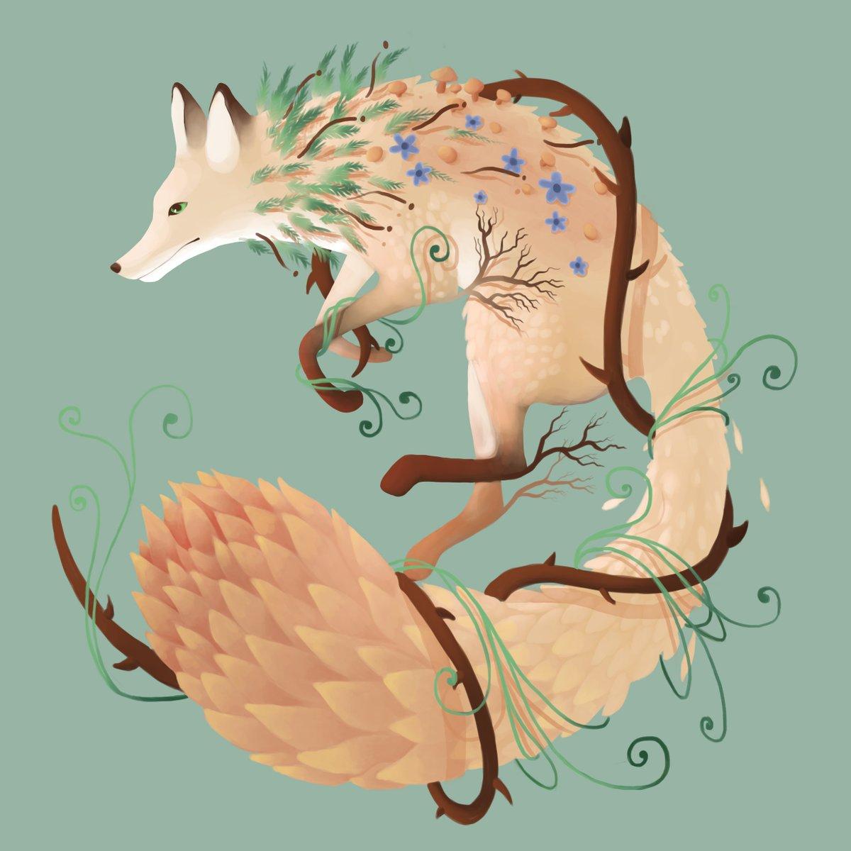 petit renard plantouilleux ^^ #renard #plantes #feuille #ronce #fleus #animals #animalsauvage #illustation #branches<br>http://pic.twitter.com/iueurb9XVs