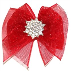 OOH LA LA ORGANZA HAIR BOW - RED! Visit:   #dogs #doghairbow #puppy #dogsoftwitter @PoshPuppy