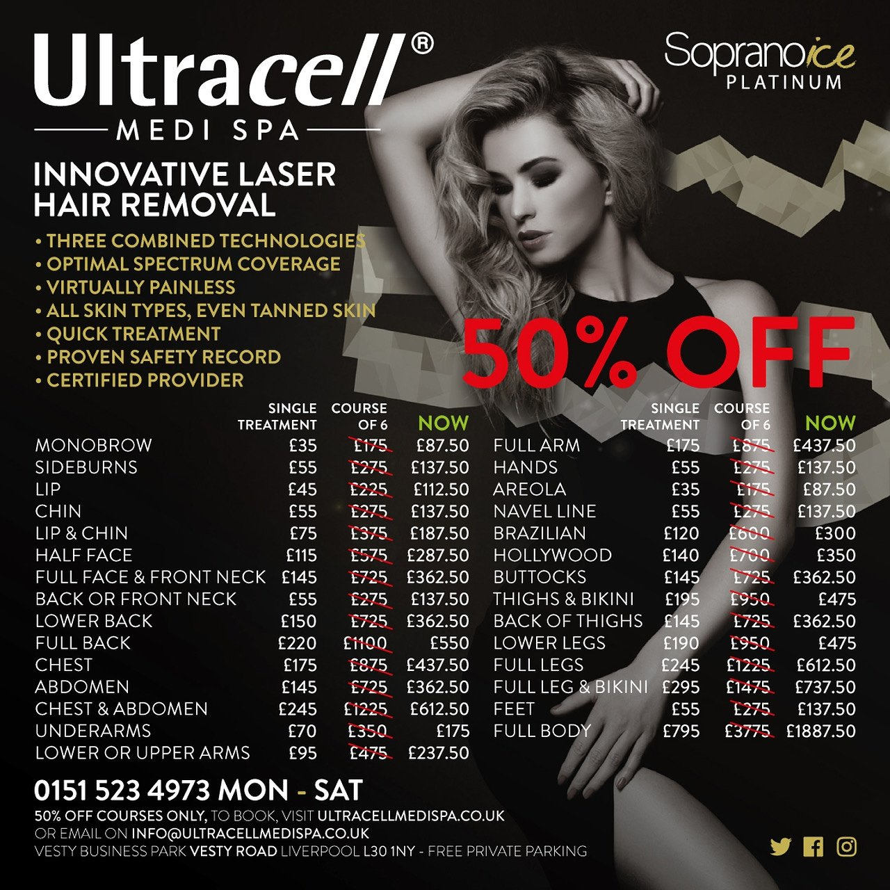 Ultracell medi spa 50 off laser hair removal courses clients describe the session as quick efficient and painless xflitez Choice Image