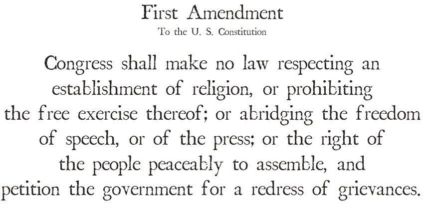 the us governments favoritism of christianity is a clear violation of the first amendment The first amendment does not protect individuals from facing civil penalties if they defame another person through written or verbal communication additionally, threats of mere social ostracism or boycotts are protected by the constitution violation of copyright rules.