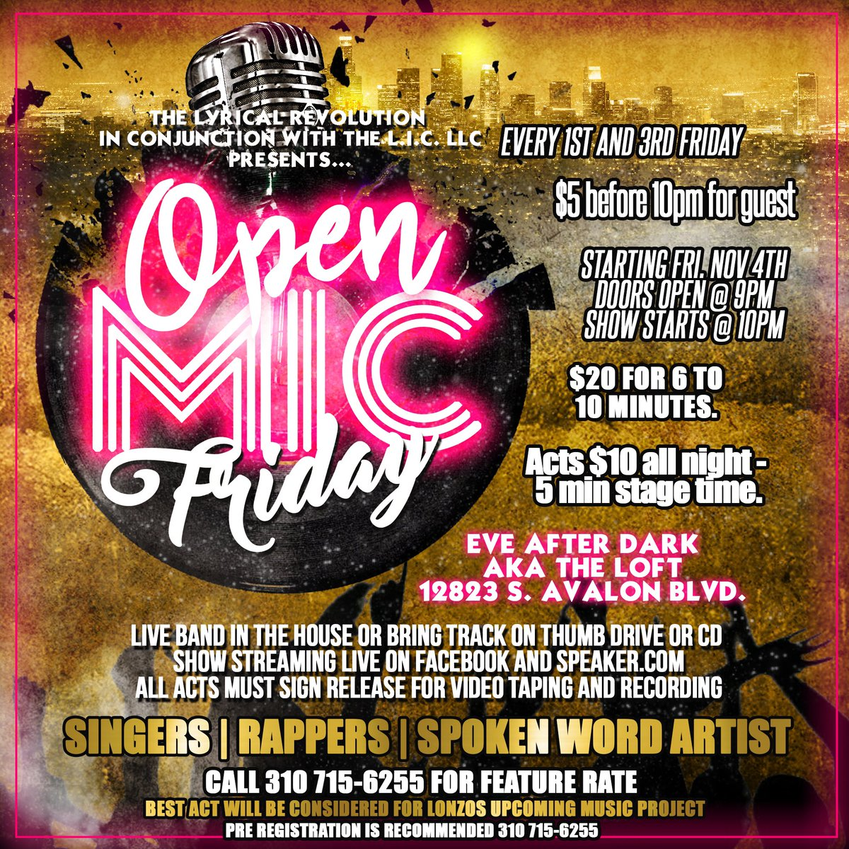 Tonight is the night! I hope to see you tonight at the #OpenMicFriday hosted by Special Guest @BishopLamont. Event:  https://www. facebook.com/events/1185031 638281096/?ti=icl &nbsp; … <br>http://pic.twitter.com/pYp5Uk9Nsm
