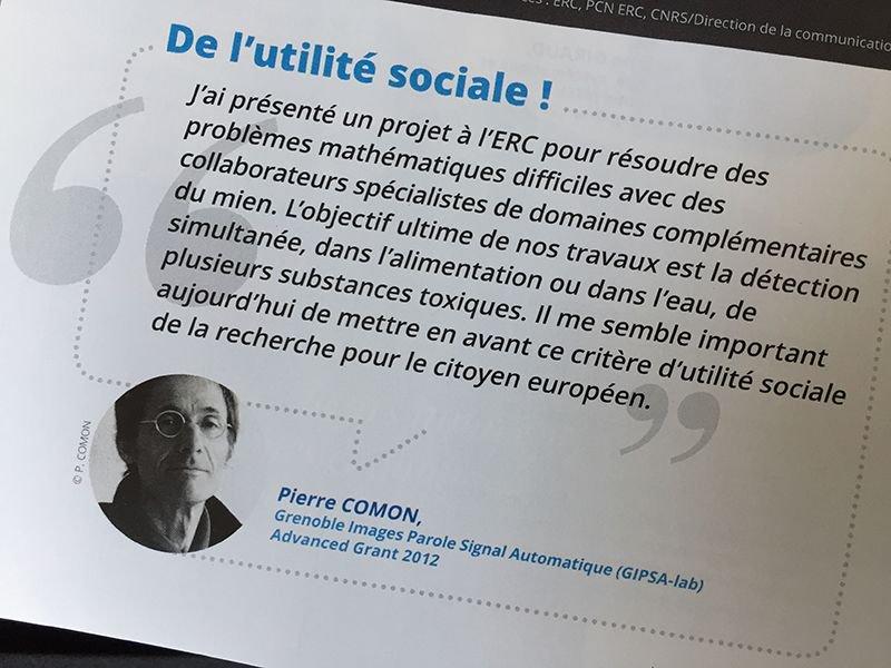 Bon bilan de l&#39;#ERC10yrs, témoignage de Pierre Comon du @GipsaLab à l&#39;honneur dans #CNRSleJournal n°287  http:// bit.ly/2lnNr3Z  &nbsp;  <br>http://pic.twitter.com/BvZgsADvA8