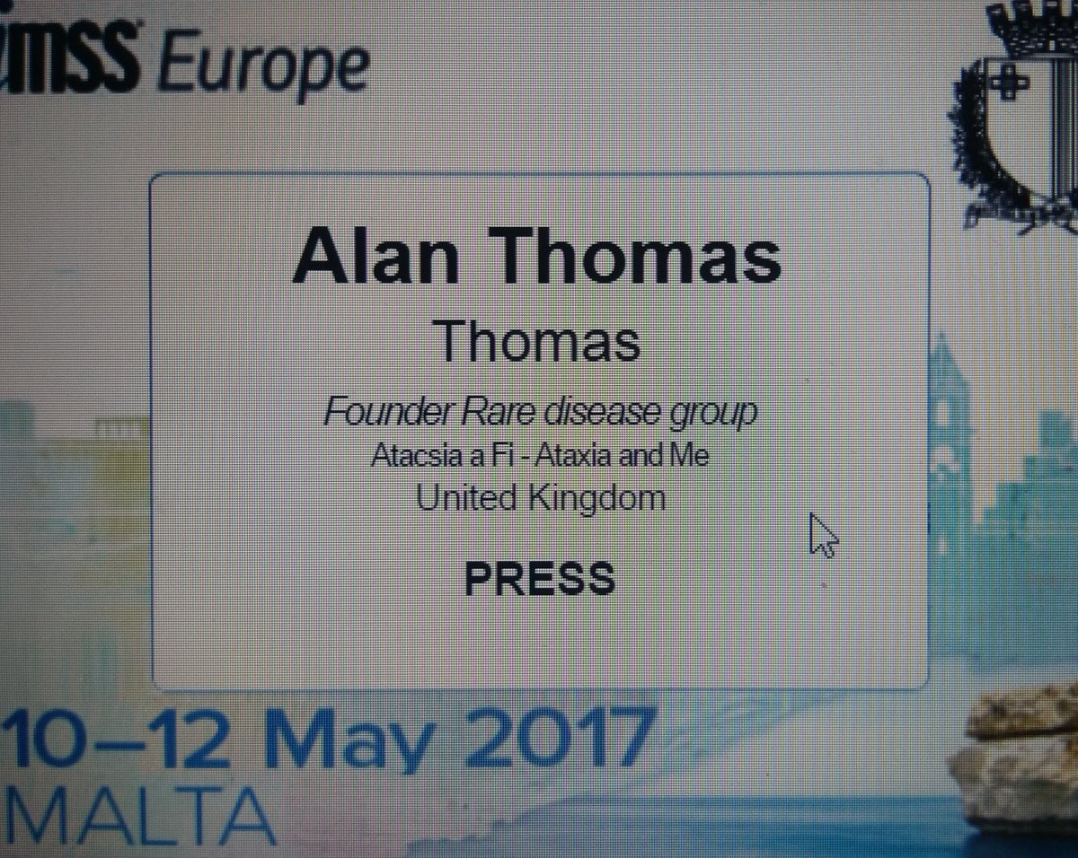 A proud #FridayFeeling   Via @himsseurope #Ehealthweek #Malta #Press #Ataxia #raredisease #patient #health   cc @dmauro30 @johnnyjots<br>http://pic.twitter.com/NRCHoBFe2M