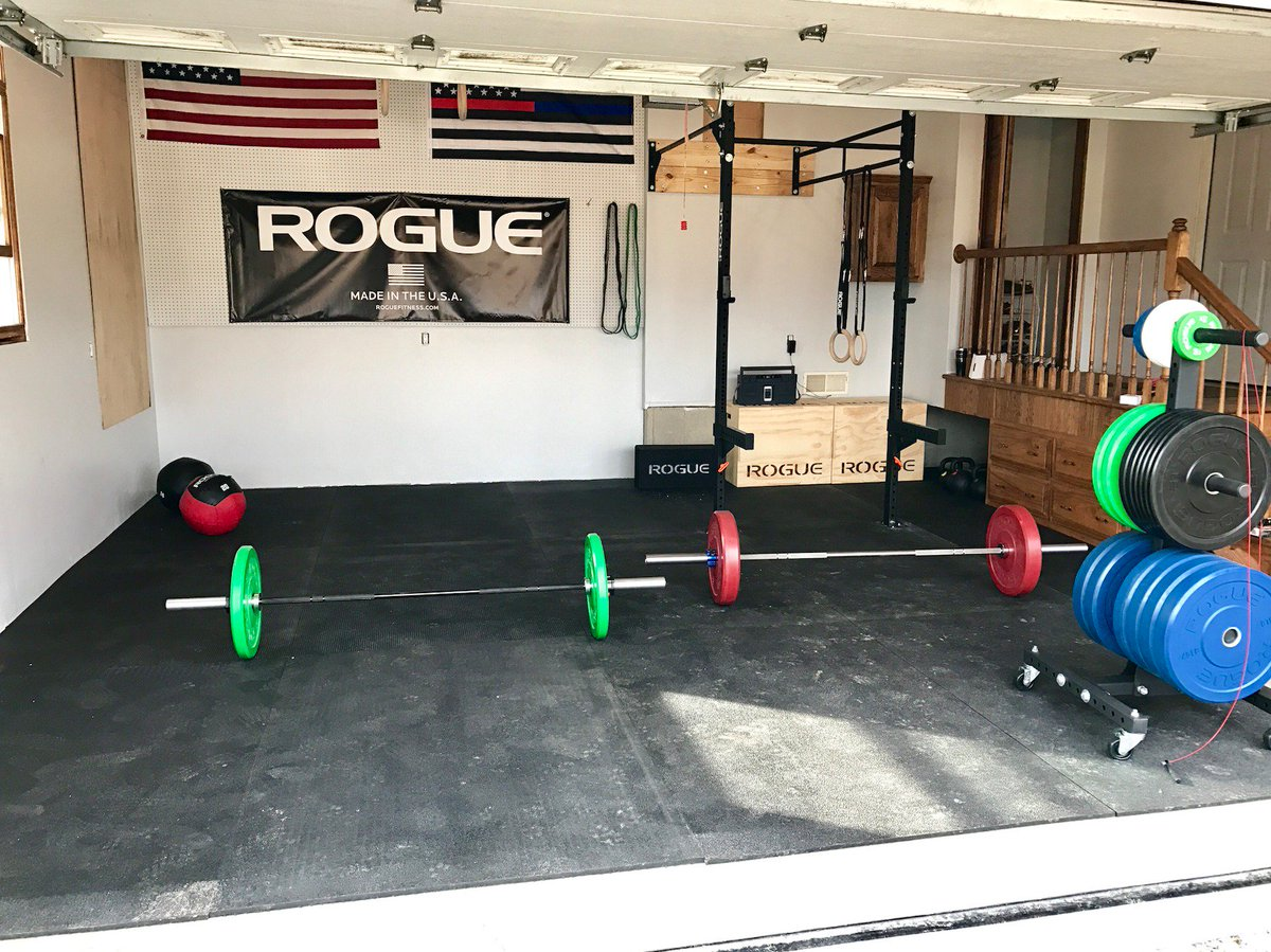 Rogue Fitness on Twitter Garage gym setup