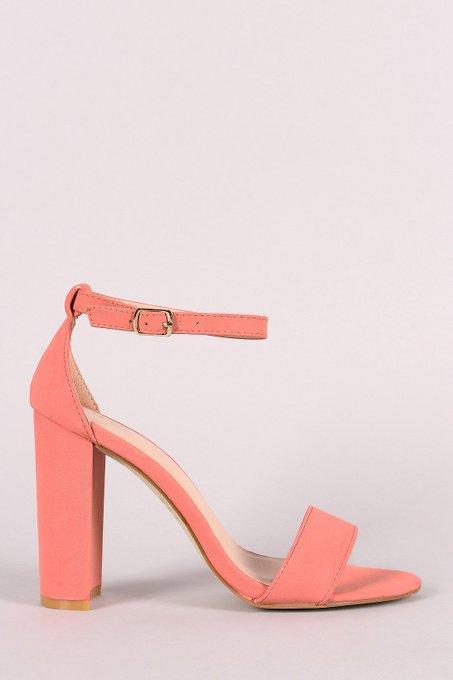 Nubuck Ankle Strap Open Toe Chunky Heel