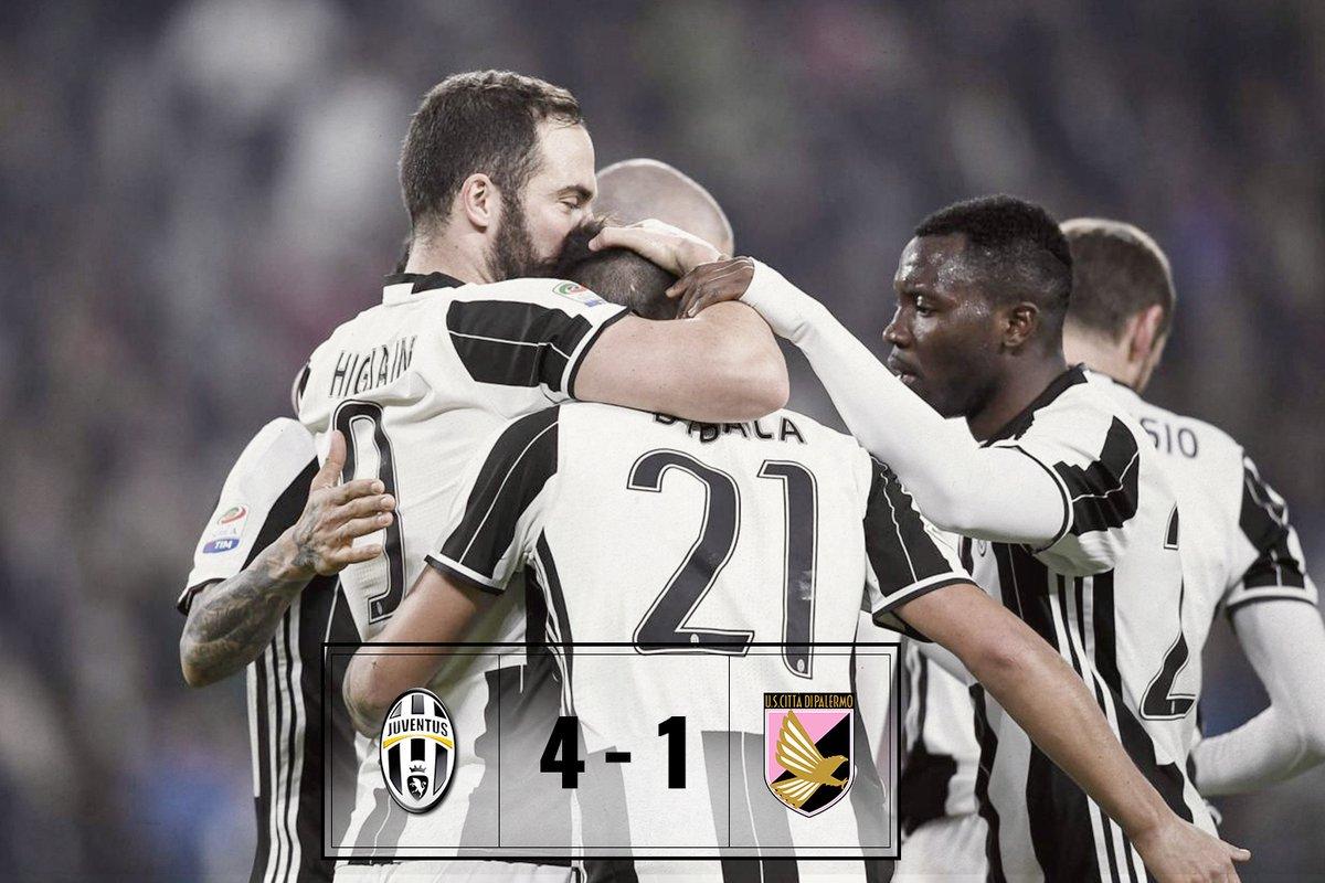 Juventus-Palermo risultato esatto 4-1 con la favolosa coppia Argentina Higuain Dybala