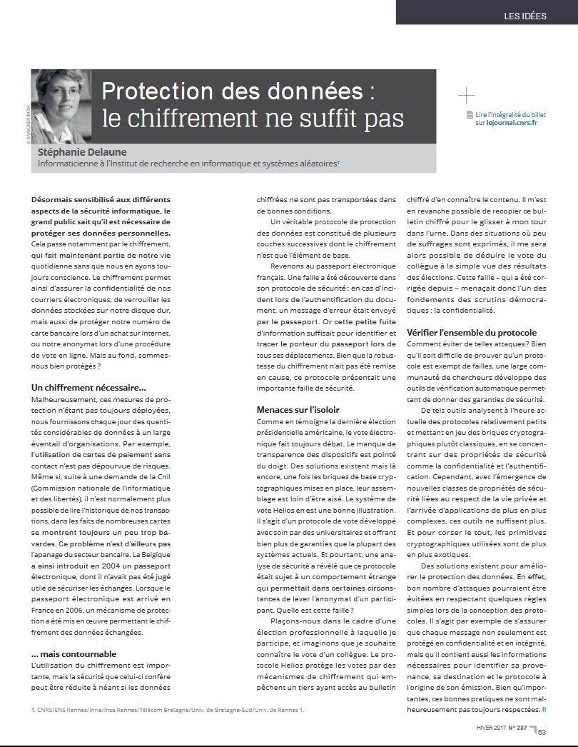 Reprise de la tribune de Stéphanie Delaune de l&#39;@irisa_lab sur la protection des données dans #CNRSleJournal n°287  http:// bit.ly/2kufOye  &nbsp;  <br>http://pic.twitter.com/un0rN0adcV