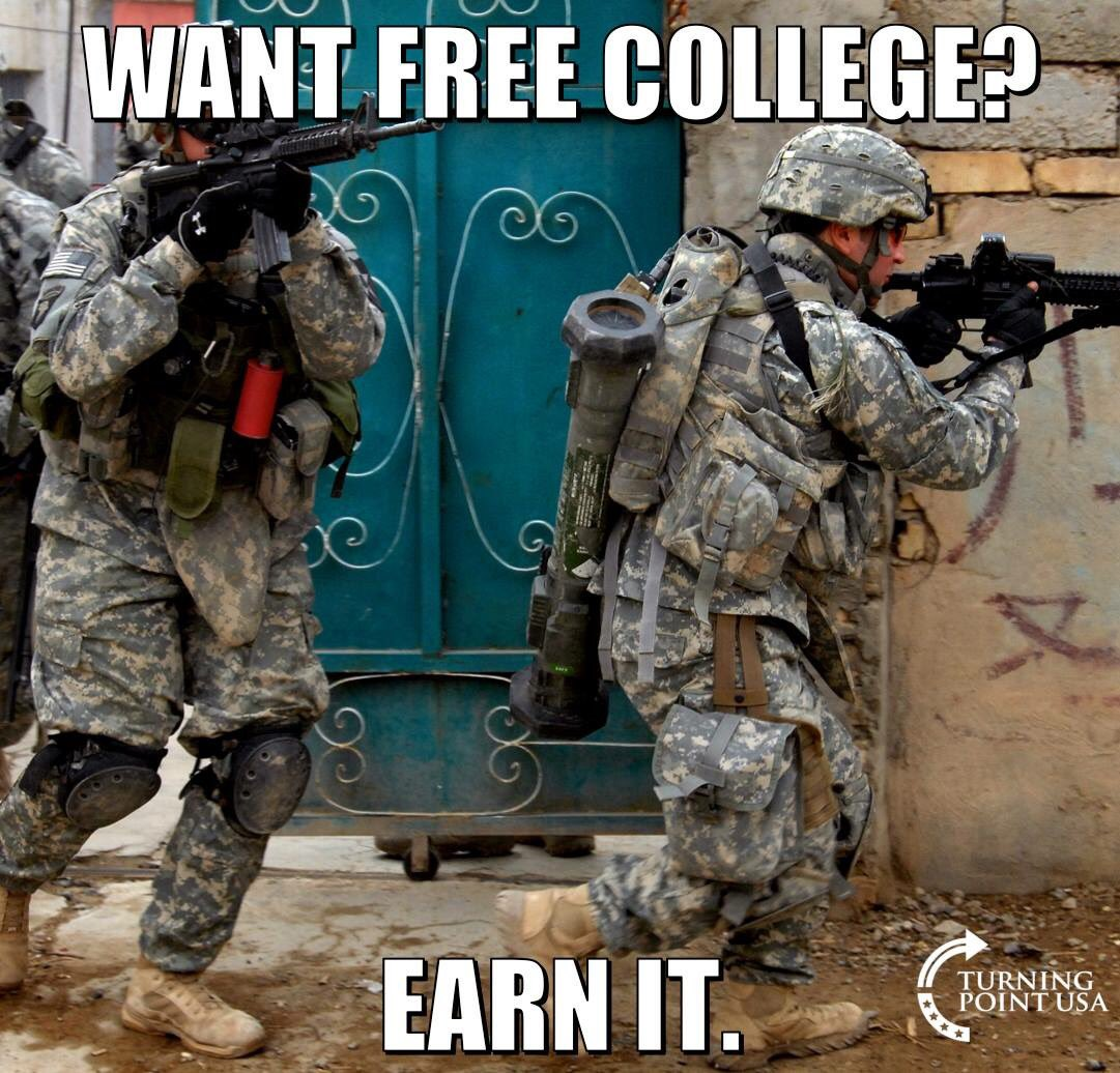 MT @reality_insider: You Want Free College? EARN IT! #MAGA #supportourtroops #earnit #tcot <br>http://pic.twitter.com/5kRyoPCxHk #SOT #PJNET