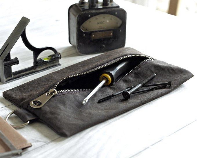Gift For Men, Waxed Canvas, Tool Pouch, Flat Pack, Craft Tools Bag, Pencil Case, Toiletry Pouch, Travel Bag, Brown Wallet, Mens Grooming