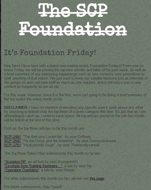 The Scp Foundation On Twitter Happy Foundationfriday Httpstco