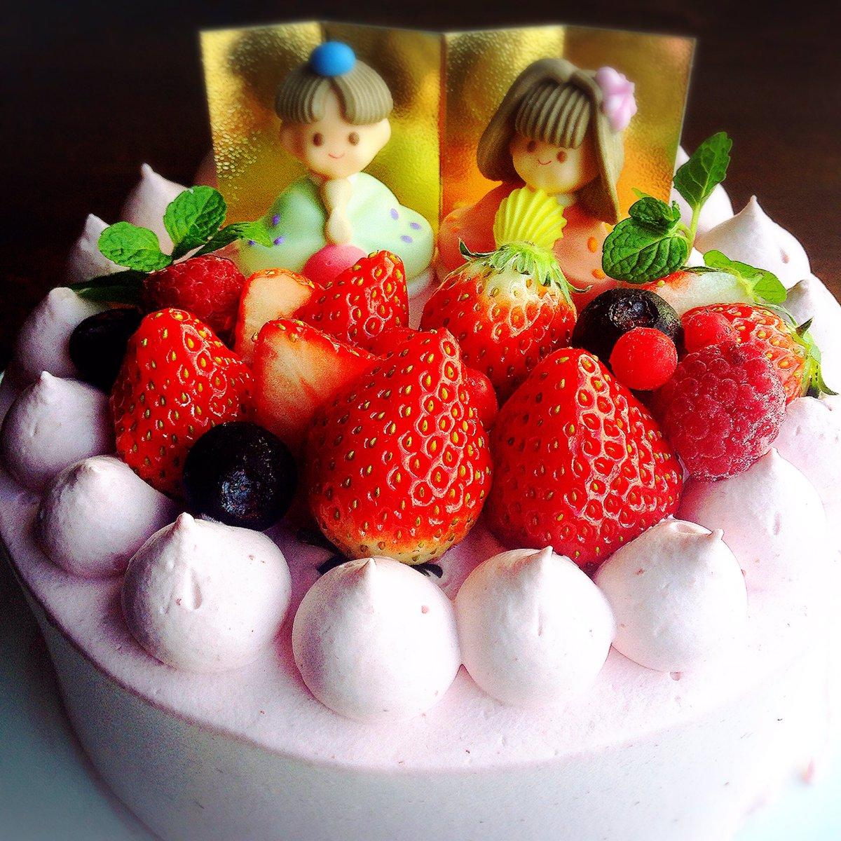 ひなまつりケーキのご予約受付中です♬  ひなまつりロールケーキ2400円  ひなまつり5号3400円