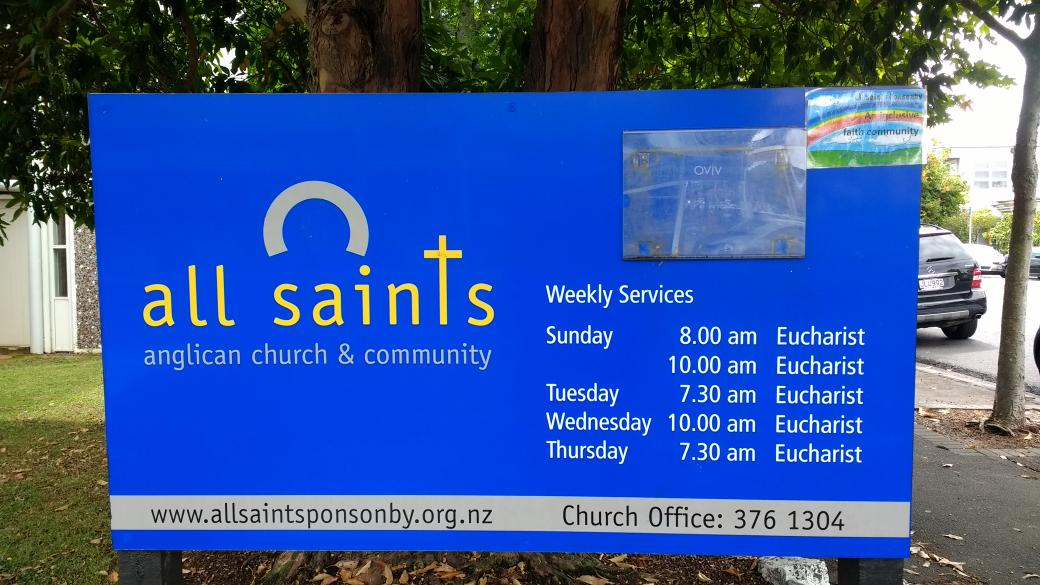 Church noticeboard with inclusion sticker