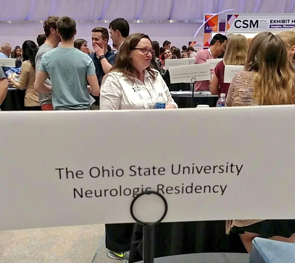 Representing @TheOhioStateDPT Neuro PT Residency Program at #APTACSM meet and mingle. This is the future of our profession! #moveforward