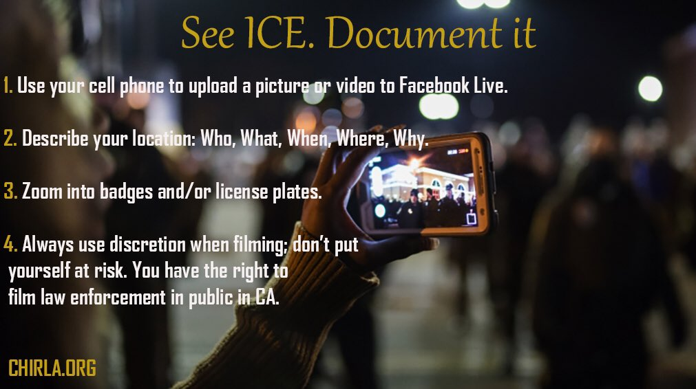 """Here's some tips to SHARE with others.  """"See ICE. Document it.""""  #Share https://t.co/Ih9zDNGtNt"""