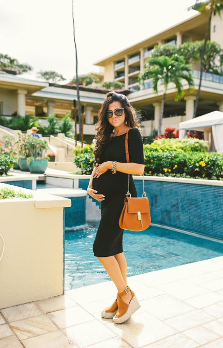 Baby Bump in a Black Bardot Dress