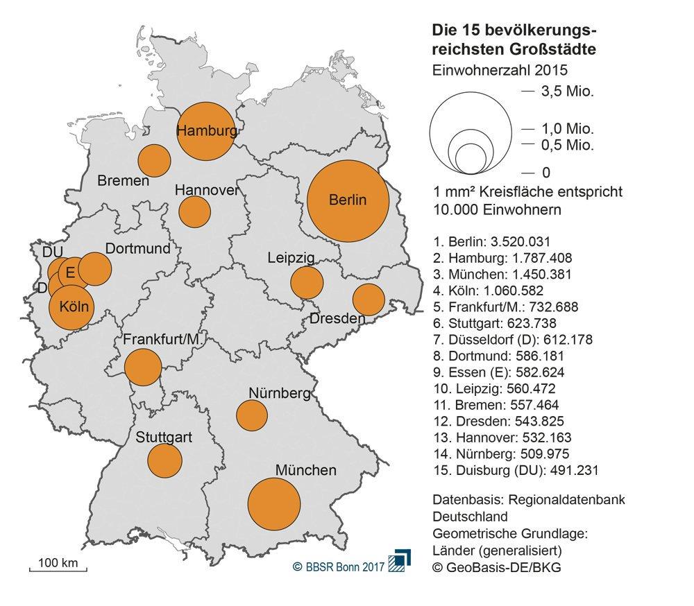 """BBSR on Twitter: """"Aktuelle Karte: die 44 größten Städte in ... - Bonn Karte Deutschland"""