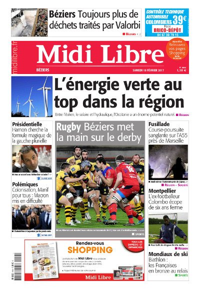 #MidiLibre Bonjour #Béziers ! Voici la Une de @MLBeziers de ce samedi 18 février. On revient sur la belle victoire de l&#39;@ASBHOfficiel !<br>http://pic.twitter.com/CN1gh36AXL