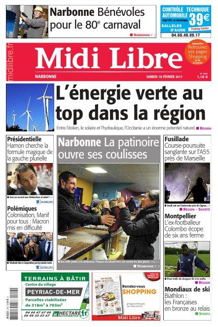 A la une de #MidiLibre #Narbonne ce samedi<br>http://pic.twitter.com/jdcMWkcISk
