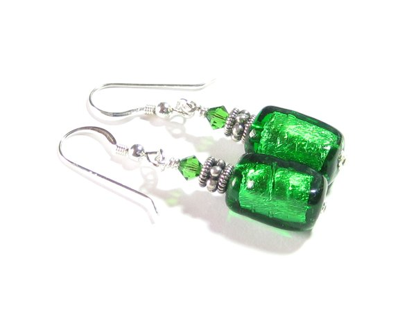 Murano Glass Emerald Green Tube Sterling Silver Earrings