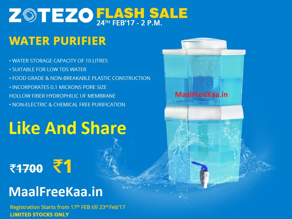 #LOOT !! Buy Water Purifier Only Rs 1 #FlashSale   http://www. maalfreekaa.in/2017/02/buy-wa ter-purifier-only-rs-1-flash-sale.html &nbsp; …  <br>http://pic.twitter.com/2lil1zOqzU
