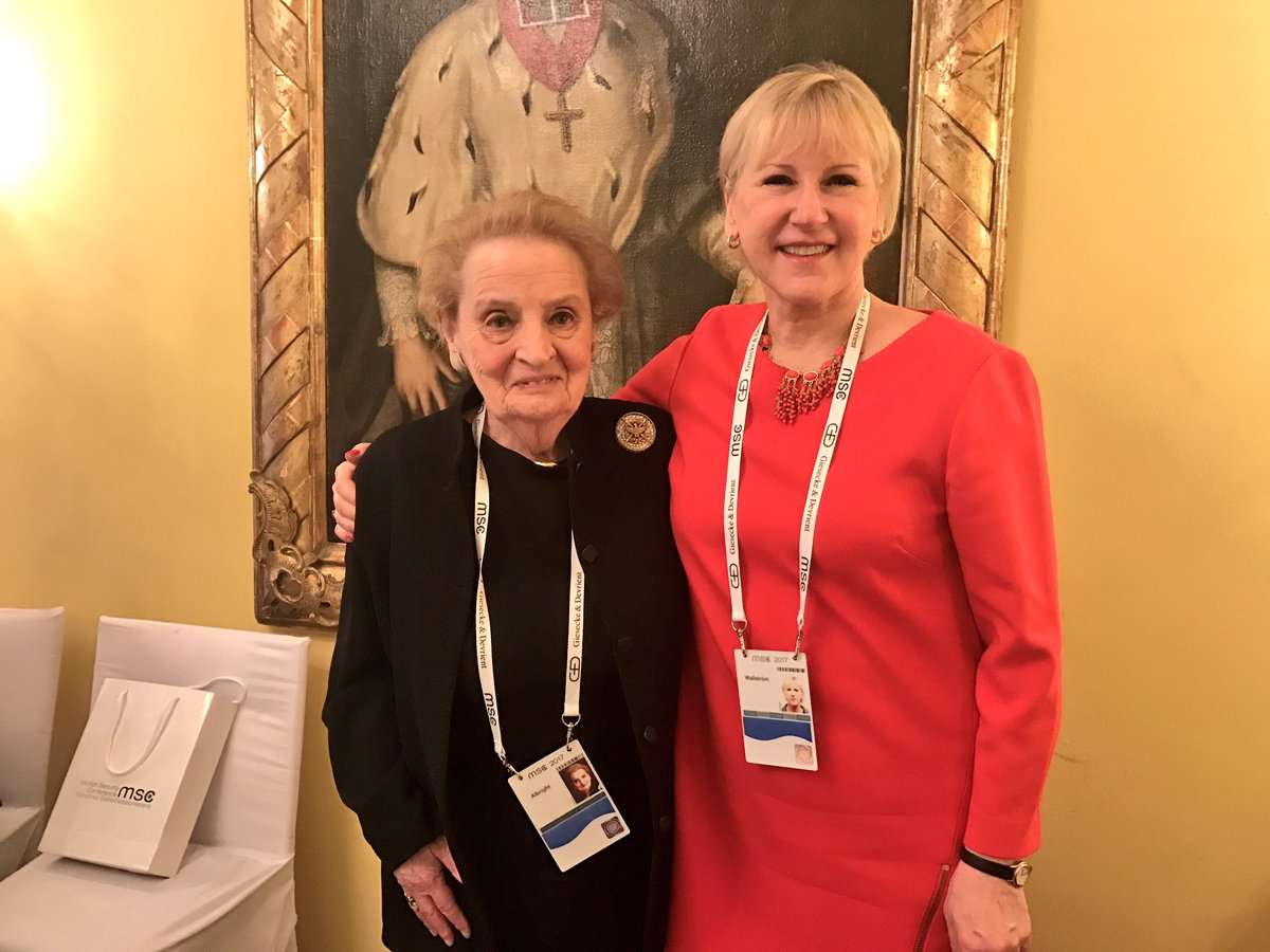 Very good meeting with the always inspiring @Madeleine Albright at #MSC2017.